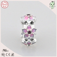 Top Quality New Collection Love Pink Enamel Flower Design 925 Real Silver Spacer Charm Fitting European Famous Bracelet