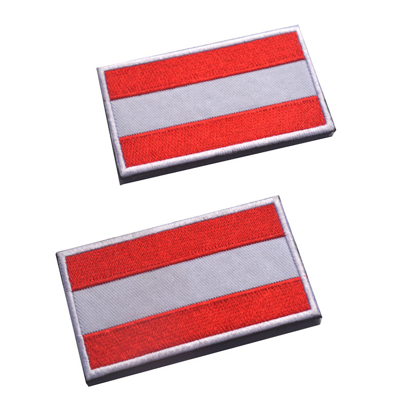 5pcs/lot Embroidered Austria Flag Patch Army Fasten insignia cloth affixed badge Tactical Military morale patches badges