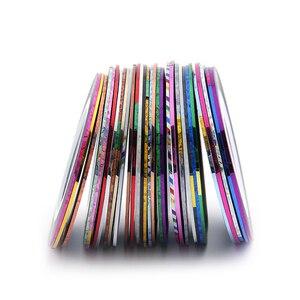 Image 3 - 30 рулонов + 1 чехол, разные цвета, рулоны, полосатая лента, линия, сделай сам, украшения ногтей, наклейки для ногтей, металлические нити, полоски