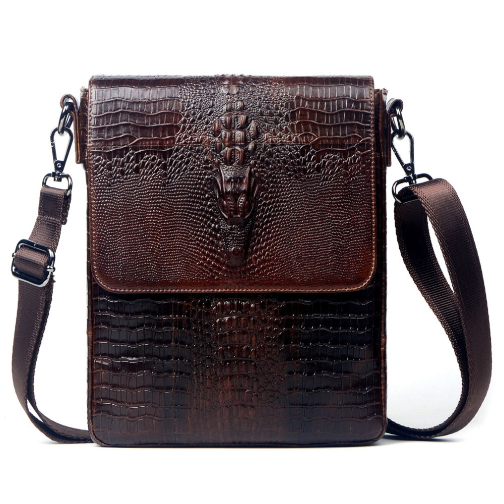 Male Leather Cowhide Crocodile Grain Pattern Messenger Bag fashion Business and leisure travel Shoulder Messenger Bag