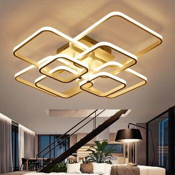 Square Overlay Acrylic Aluminum Modern LED Ceiling Light Living Room Bedroom Study Commercial Ceiling Lighting 110-240V