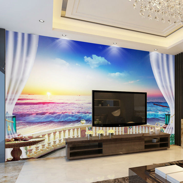 3D European Style Photo wallpaper Sunset Seascape Silk Wall Mural Room decor  sofa background wall large. Compare Prices on Seascape Wall Murals  Online Shopping Buy Low