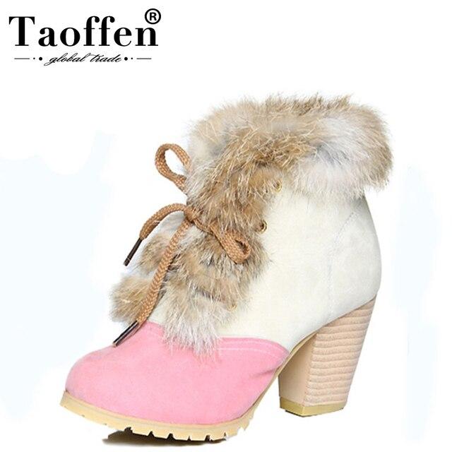 5c7d3bb7 Tamaño 34-45 mujeres nieve botas de invierno cálido grueso zapatos de piel  Vintage encaje
