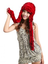 2016 autumn and winter women's fur hat rex rabbit knitted hat thimbler ear protector cap
