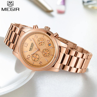 MEGIR Women Watches Fashion Quartz Wristwatches Calendar Waterproof Ladies Stainless Steel Gold Watch Clock relogio feminino