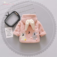 Warm Winter Baby Girls Infants Kids Cute Cartoon Rabbit Ear Hooded Thicken Velvet Fleece Jacket Coat