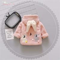 Warm Winter Baby Girls Infants Kids Cute Cartoon Rabbit Ear Hooded Thicken Velvet Fleece Jacket Coat