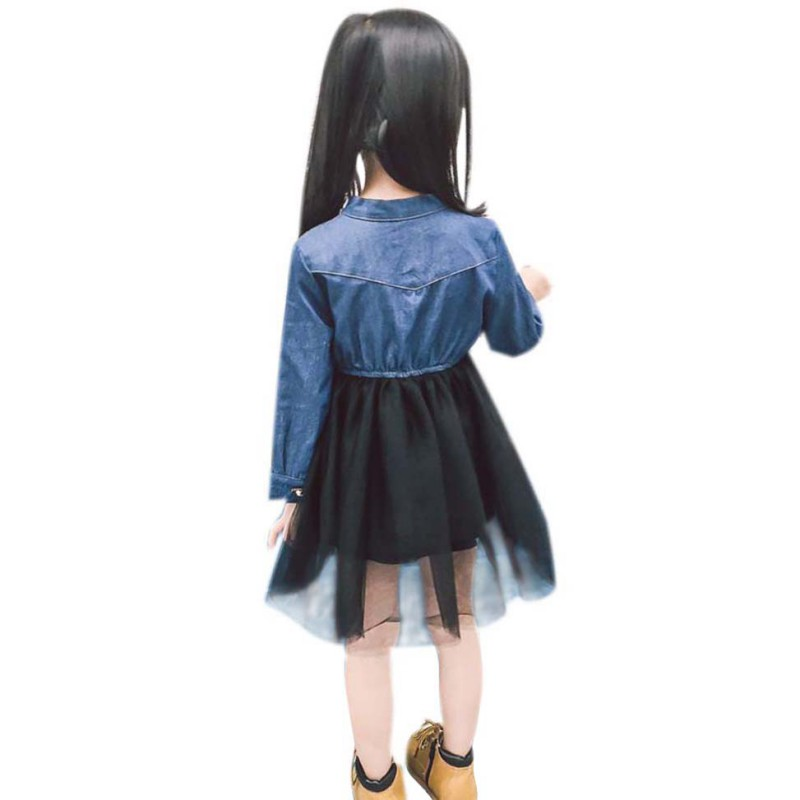 New 18 Baby Girl Dress Denim Mesh Splicing Bow Princess Dress Long-Sleeved Toddler Baby Clothes Girls Dress 10