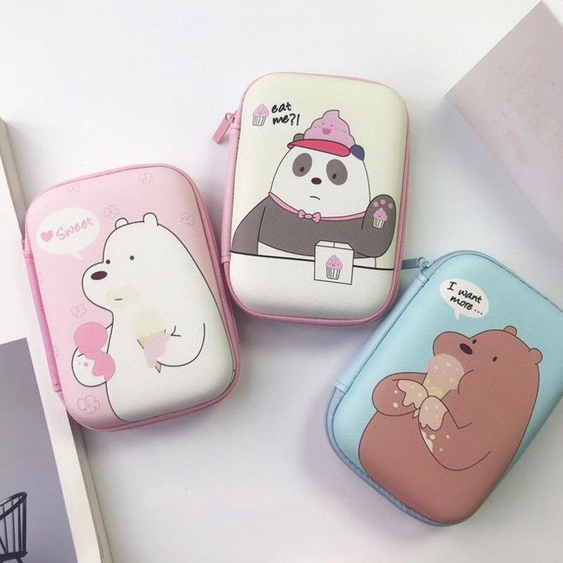 1 Pc Hot Sale Cute Three Bears Figures Toys Cartoon We Bare Bears Coin Bag Headphone Storage Bag Gifts