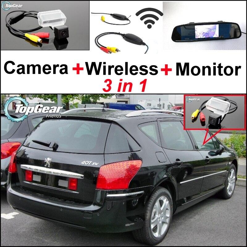 3 in1 caméra de recul spéciale + récepteur sans fil + miroir moniteur système de stationnement de secours pour Peugeot 406 407