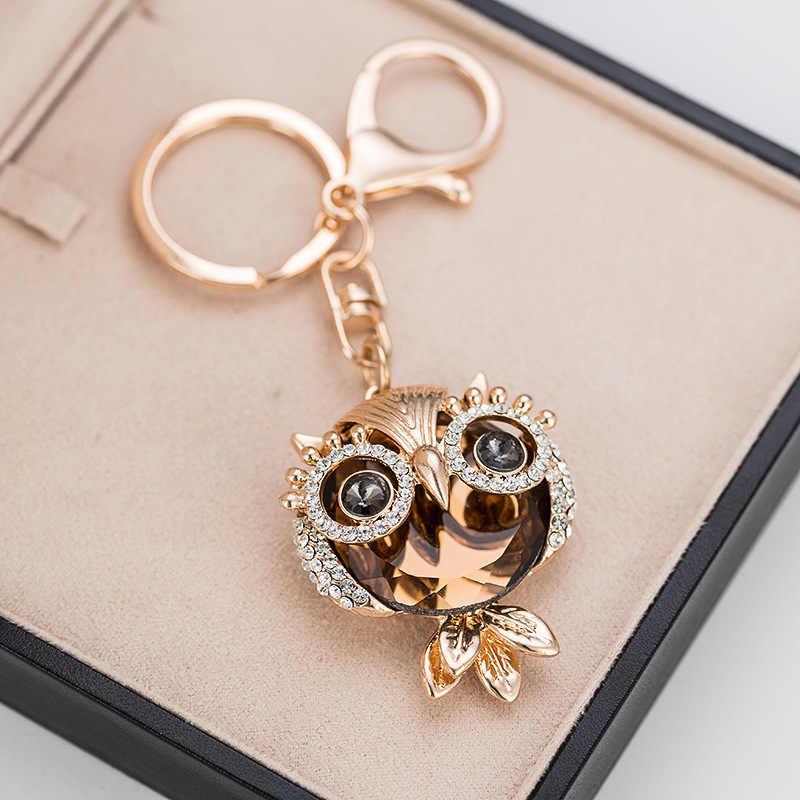 RE Novo design cristal coruja chaveiro strass completo chave anel chave titulares para as mulheres acessórios do saco animal bonito da chave do carro cadeia G34