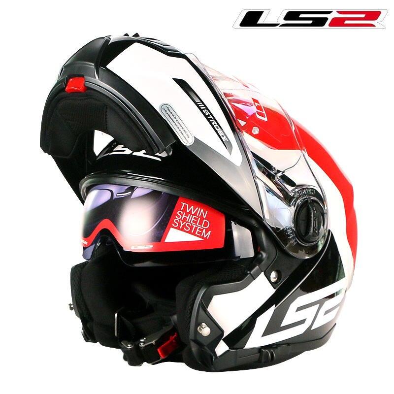 LS2 Authoritied FF325 Flip up casque de moto double blindage avec intérieur ensoleillé bouclier modulaire moto casque femmes homme LS2 casques