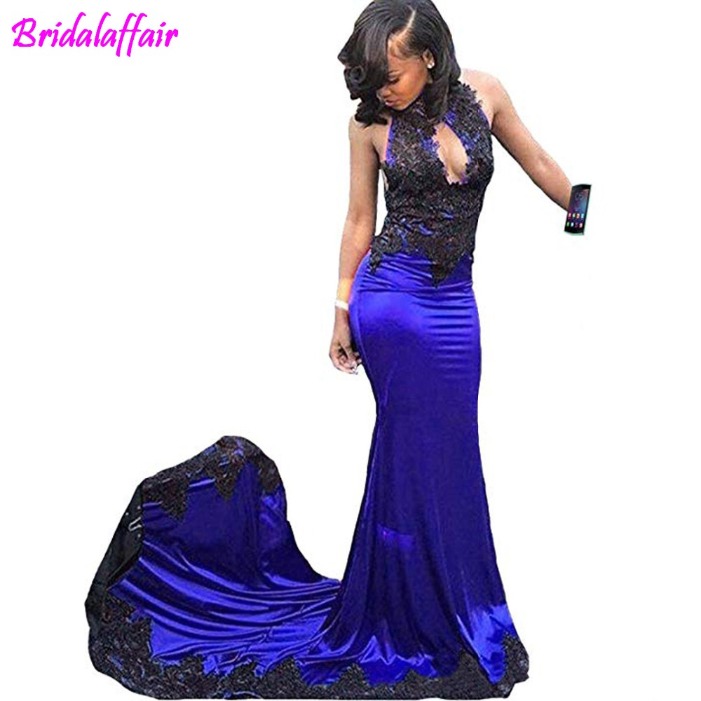 Sexy High Neck Mermaid Lace Royal Blue   Prom     Dresses   Backless Long   Prom     Dress   2019 Lace Elegant Ceremony Long Party   Dresses