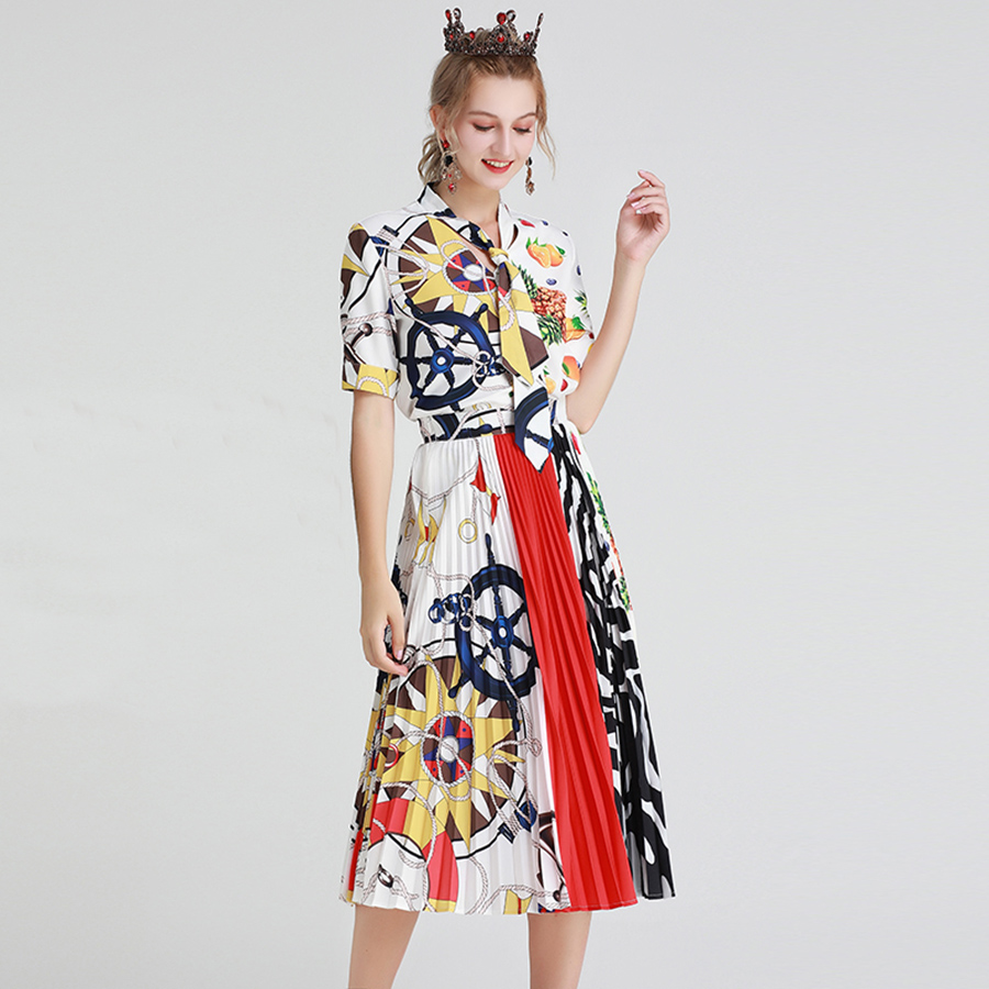 VERDEJULIAY Piste Femmes Twinsets D'été 2019 Nouveau Design De Mode décontracté Cravate Impression V-cou T-shirt + Jupe Mi-longue Plissée Costume