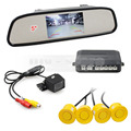 DIYKIT 5 Inch Rear View Mirror Car Monitor Kit + Video Parking Radar + IR Night Vision Rear View Car Camera Parking Assistance