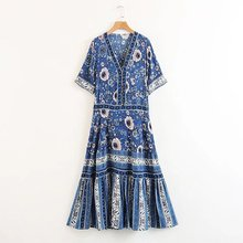 e5fa86ec7410 Daijiesiman BOHO vintage navy drop-waist silhouette flowing summer sleeve maxi  dress