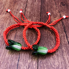 Luxury Coloured Glaze ID Bracelets Chinese Cabbage Red Rope String Bracelets Friendship Wish Men and Women Hand Catenary(China)