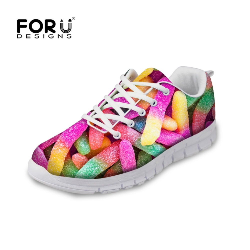 ФОТО FORUDESIGNS Mixed Color Women Street Shoes Breathable Female Mesh Walking Shoes Novelty Comfort College Girls Walking Shoes