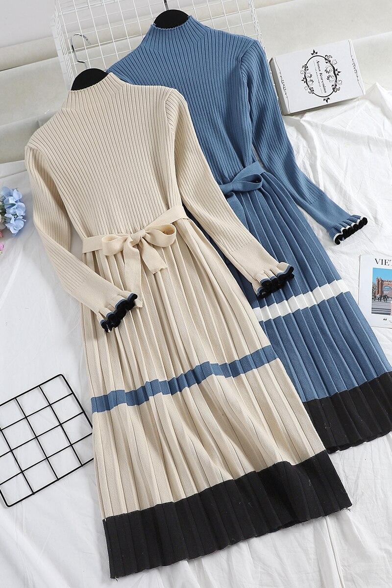 e7cd00a4ea4 2018 winter new women Fashion long knit dresses female high-neck striped  long sleeve waist