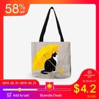 3356d5fdf Personalizado de dibujos animados gato, bolso para las mujeres bolsas de compras  reutilizables de viaje