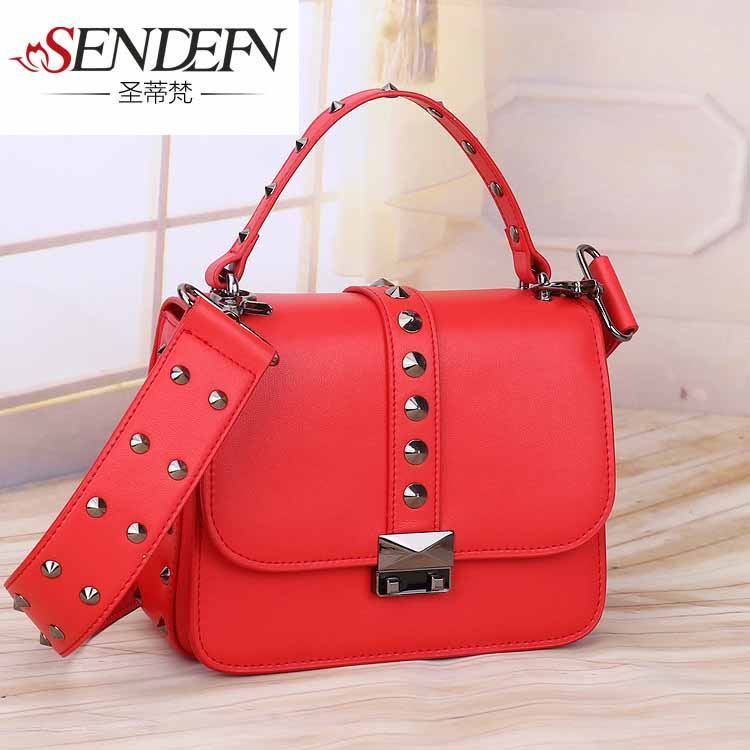 Fashion Rivet Small Flap Women Bag Famous Designer Handbags High Quality Cowhide Leather Lock Ribbons Crossbody Bags  sunmejoy fashion ribbons handbags designer women bag crossbody bags rivet shoulder bags embroidered floral women messenger bag