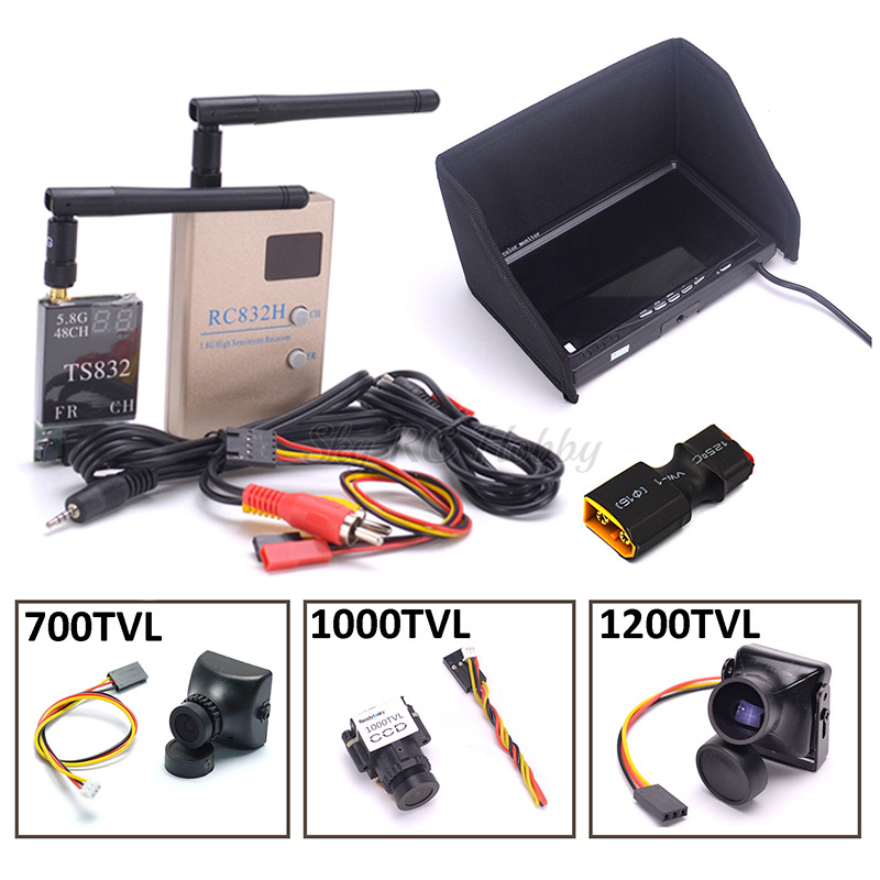 FPV Combo System 5.8Ghz 600mw 48CH TS832 Transmitter RC832H RC832 Receiver 7 inch LCD 1024 x 600 Monitor 700TVL / 1200TVL CameraFPV Combo System 5.8Ghz 600mw 48CH TS832 Transmitter RC832H RC832 Receiver 7 inch LCD 1024 x 600 Monitor 700TVL / 1200TVL Camera