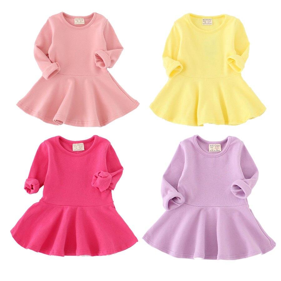 2017baby kids girls dresses spring autumn cotton o-neck long sleeve color rosa niña vestidos de bebe