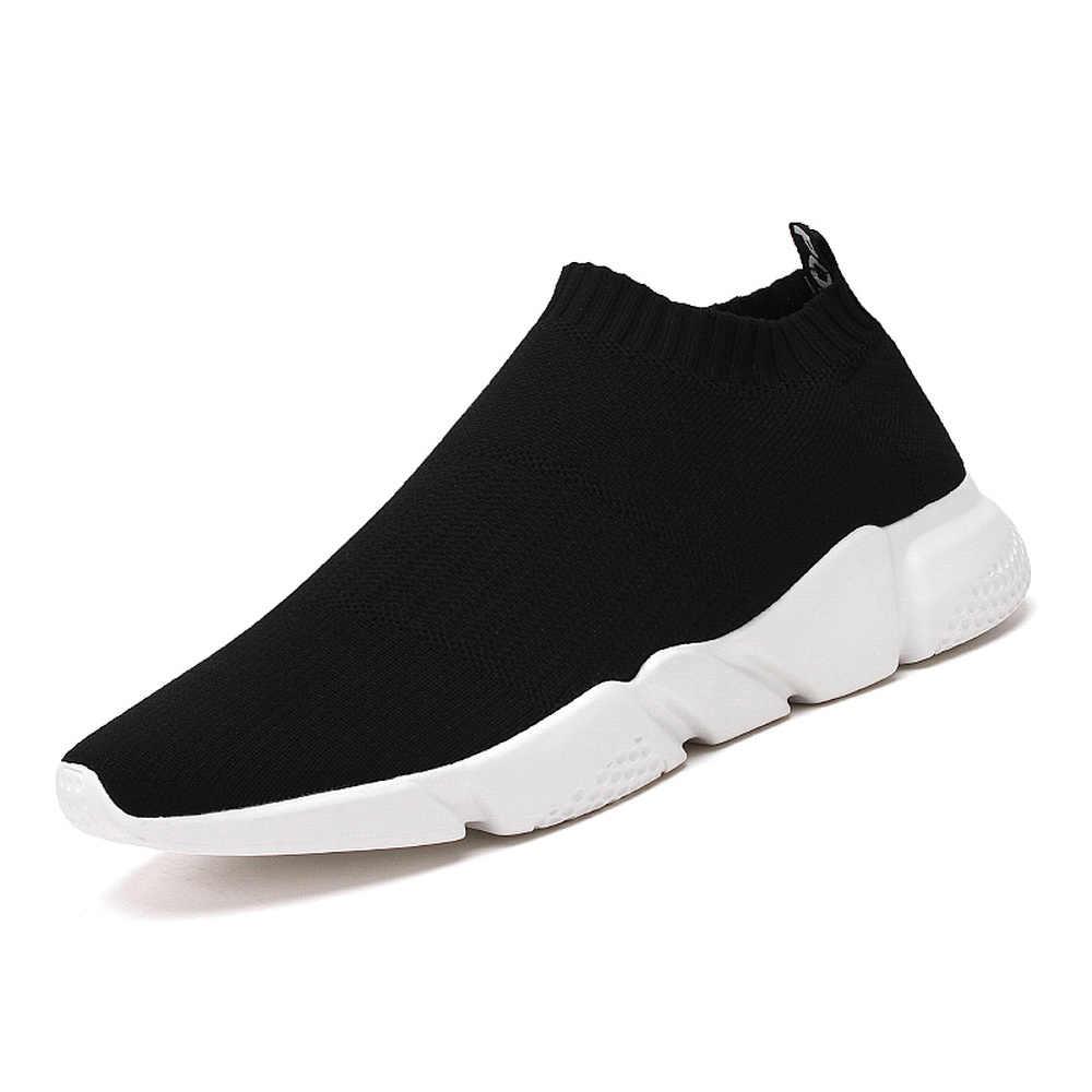 Rahat ayakkabılar Erkekler Düz Sneakers Marka Nefes Moda Örgü Adam Eğitmenler Ayakkabı Açık Eğilim Hafif kaymaz yürüyüş ayakkabısı