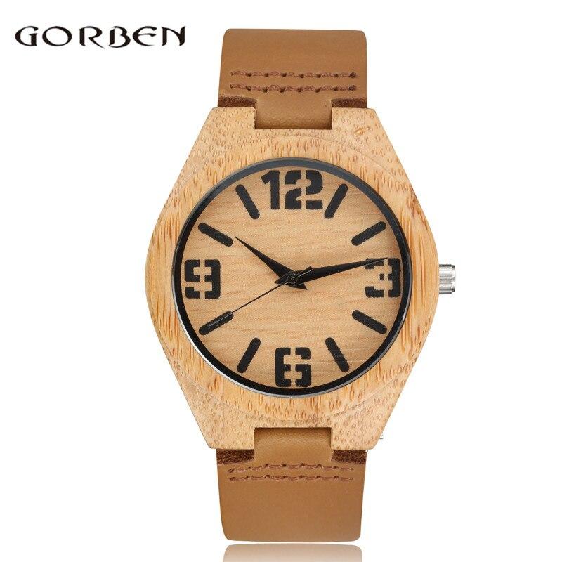 Retro Creative Wood Watch Men Big Numerals Dial Cow Leather Band Fashion Mens Womens Quartz Wrist Watches Relogio Masculino Gift