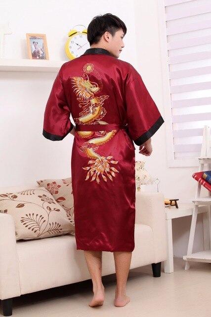 New Double-Side Embroidery Dragon Male Long Robe Chinese Men Silk Satin  Men s Dragon Kimono Robe Gown Reversible Bathrobe Dress 64badc3ef