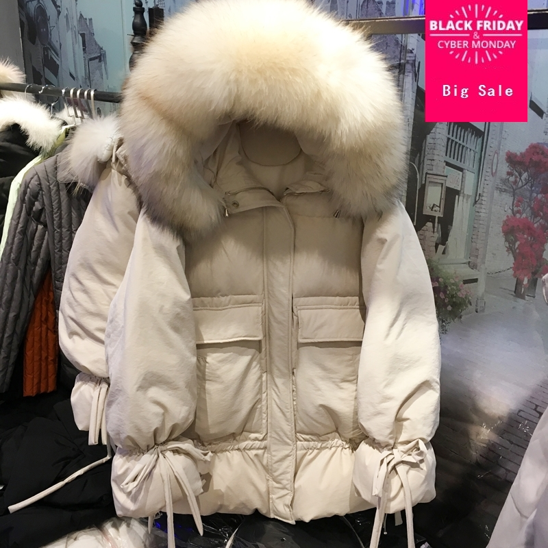 Winter new fashion brand real duck   down     coat   female single breasted hooded with real fur collar hooded warm   down   jacket wq121