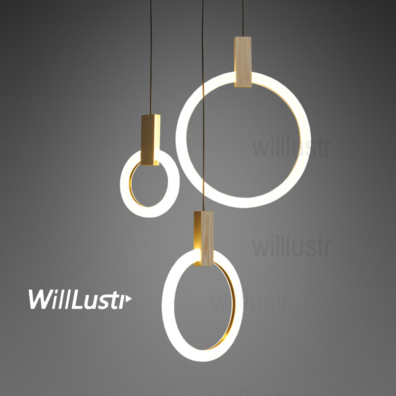 NEW PMMA LED pendant light round ring wood suspension lamp minimalist hanging lighting dinning room restaurant hotel staircase laideyi concrete pendant light natural cement suspension lamp design nordic hanging lighting dinning room restaurant hotel