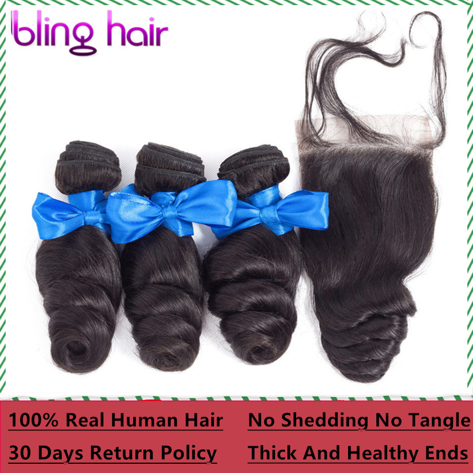 Bling Hair Brazilian Loose Wave Bundles with Closure 100 Human Hair Bundles With Closure Non Remy