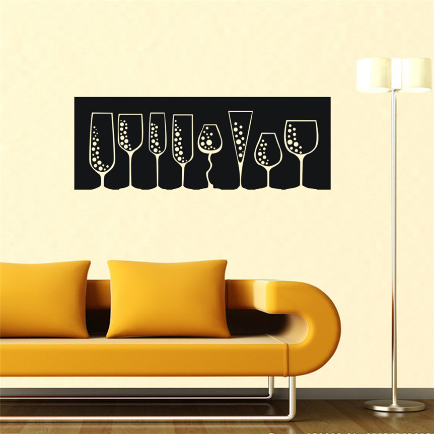 Wall Stickers DIY Wine Glasses Decal Art Mural Stickers Removable Living Room Bar Decor Gifts Drop Shipping 8M23