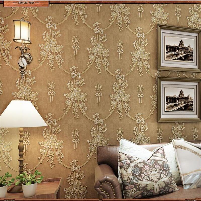 ФОТО  beibehang papel de parede Green Retro Pastoral Flower Wallpaper Bedroom Living Room Background Wall American Village Wallpaper