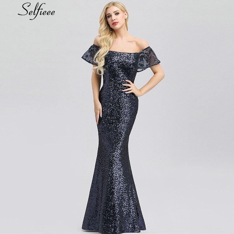 Sexy Fashion Navy Blue Women Dresses Slash Neck Off The Shoulder Bodycon Elegant Summer Dresses Female
