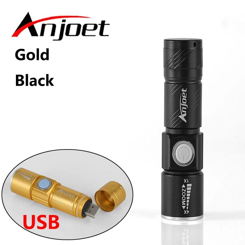 Anjoet Portable USB Handy Kraftfull LED-ficklampa Uppladdningsbar - Bärbar belysning