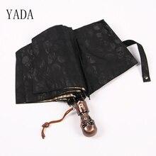 YADA Black Skull High Quality Designer DIY Umbrella Rain Men Automatic Car For Mens Windproof Folding Umbrellas YS022