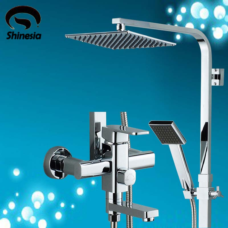 Chrome 8 Rainfall Shower Head Shower Set Faucet with Hand Shower Spray Mixer Tap Wall Mounted 8 led new wall mounted ultrathin spray square waterfall handheld shower chrome polished shower sets tap mixer faucet sets head