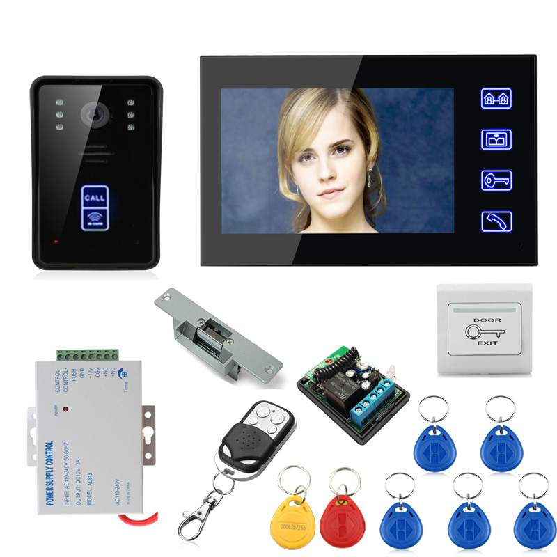 SmartYIBA 7'' Inch Monitor Wired Visual Video Door Phone Intercom Kit With RFID Remote Unlock+Electric Strike Lock Night Vision