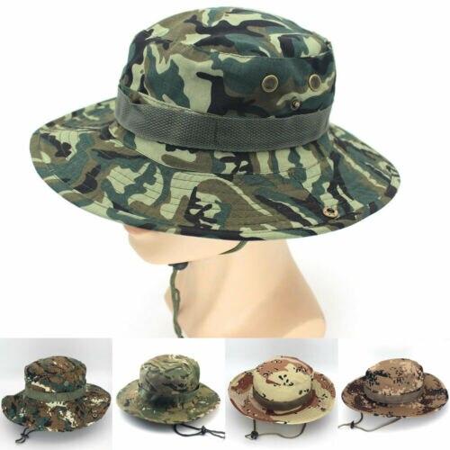 2019 Summer Sun Hat Unisex Bucket Hats Boonie Hunting Fishing Outdoor Wide Brim Safari Camo Sun Cap Mens Womens Casual Sunhat