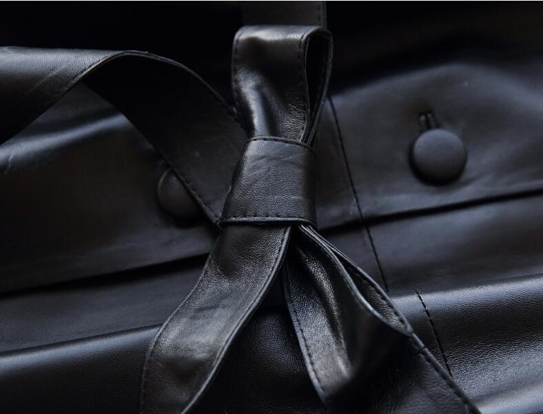 Peau Cuir Mouton De vent Noir Mince Coupe Mf132 Printemps Tranchée Yolanfairy Femmes 2018 Black Véritable Manteaux Automne Vestes Réel En w8xwYq4F