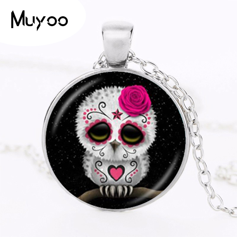 Sugar Skull Pendant Necklace Day of the Dead Jewelry Owl Stars Picture Sweater Necklace Glass Cabochon