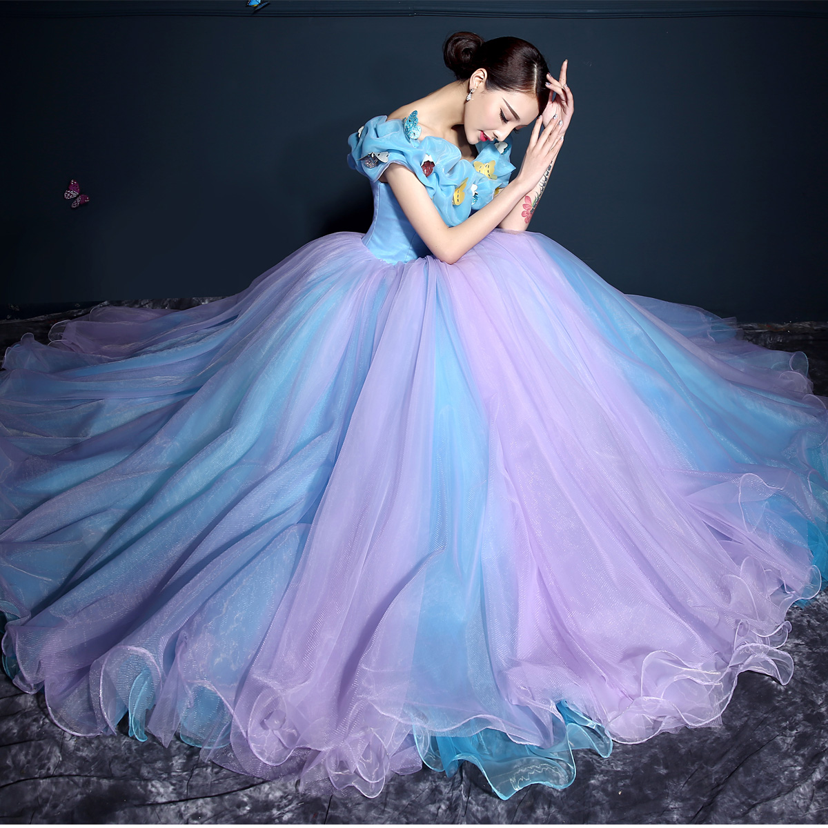 Elegant Fashion Fast Delivery Princess   Prom     Dresses   2019 Applique Long Ball Gown Puffy   Prom     Dress   Tulle Evening Costume Gowns