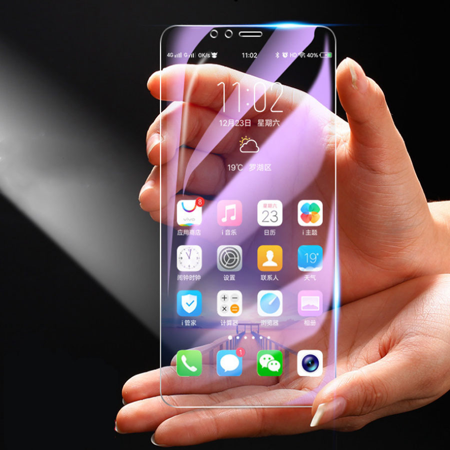 For <font><b>Huawei</b></font> <font><b>P20</b></font> P30 Lite Honor 10 10Lite 9Lite 20i 8X Violet Anti UV Purple Blue <font><b>Light</b></font> Fingerprint Temper <font><b>Glass</b></font> Screen Protector image