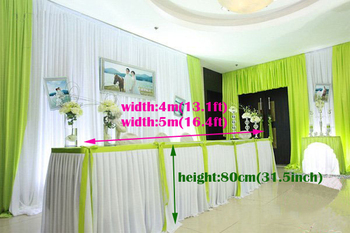 "13.1ft(W)*31.5""(H) ice silk Tablecloth wedding table skirt banquet table skirting part table skirt with swag table cover"