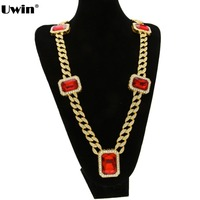 Mens Fashionable Gold&Silver Plated Iced Out Cuban Link Hiphop Chain Red Stone Pendant Unisex Miami Bling Bling Chain Necklace