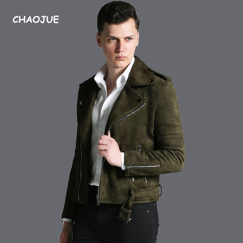 CHAOJUE Brand Short Top Suede Coat Mens 2018 Autumn/Winter Personality Army Green Zip Bi ...