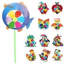 Мультяшная ветряная мельница с животными, ветряная вертушка, домашний садовый декор, детские игрушки