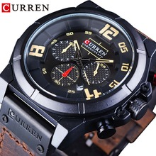 CURREN Brown Leather Belt Waterproof Chronograph Big Dial Men Military Wrist Watch Top Brand Luxury Quartz Sport Watch Men Clock